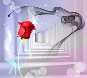 Фотошторы «Красная роза в тоннеле»