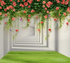 Фотошторы «Тоннель с лианами роз»