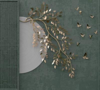Фотошторы «Золотые порхающие бабочки»