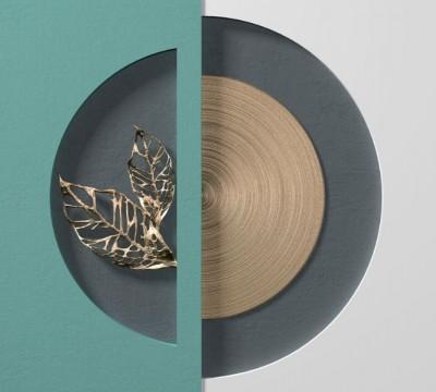 Фотошторы «Золотые листья в геометрической нише»