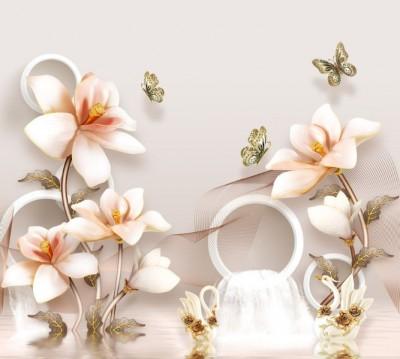 Фотошторы «Объемные орхидеи с бабочками и лебедями»