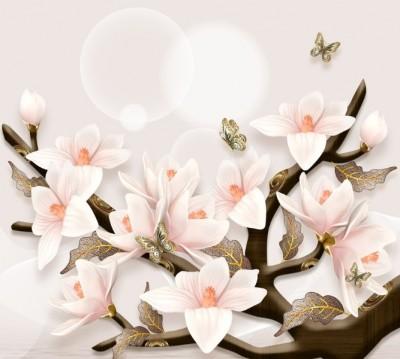 Фотошторы «Шикарная магнолия с бабочками»