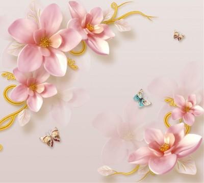 Фотошторы «Фарфоровые магнолии с бабочками»