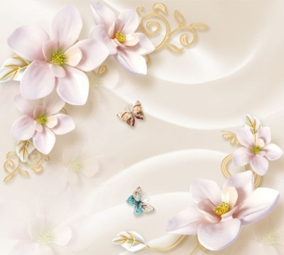 Фотошторы «Нежно-розовые керамические магнолии»