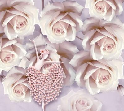 Фотошторы «Танцующая балерина в розах»