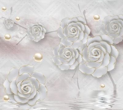 Фотошторы «Нежные керамические цветы с золотом»
