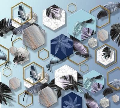Фотошторы «Тропические листья с мраморными шестиугольниками»