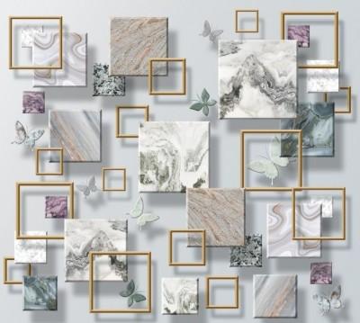 Фотошторы «Бабочки и мраморные квадраты»