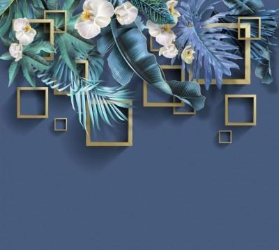 Фотошторы «Дикие орхидеи с золотыми квадратами»