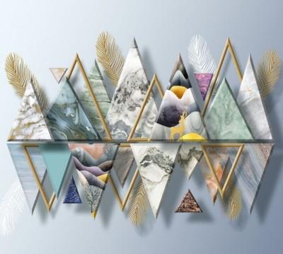 Фотошторы «Золотые перья с мраморными треугольниками»