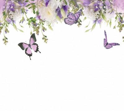 Фотошторы «Сиреневые бабочки» 3D Фотошторы