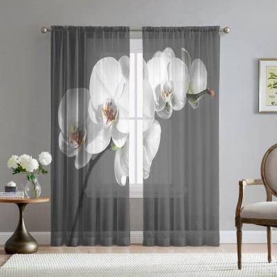 Фототюль «Белая орхидея на сером фоне»