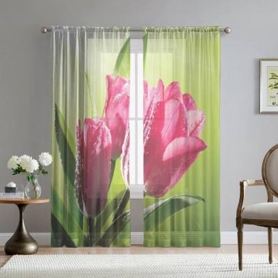 Фототюль «Тюльпаны на зеленом фоне»