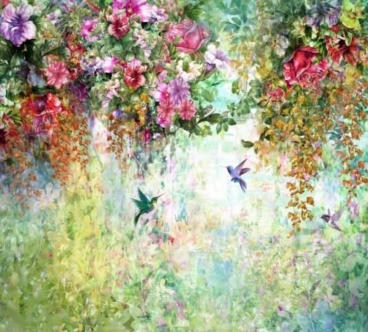 """Фототюль с печатью изображения """"Струящийся сад"""" вид 2"""