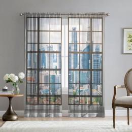 Фототюль «Окна с панорамным видом на город»