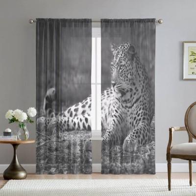 Фототюль «Черно белый леопард»