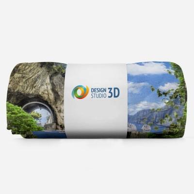 3D плед «Античный балкон с видом на парусники в заливе» 3D Пледы