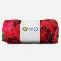 3D плед «Нежные бордовые розы»