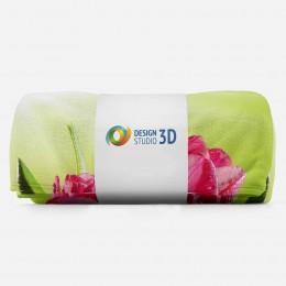 3D плед «Тюльпаны на зеленом фоне»