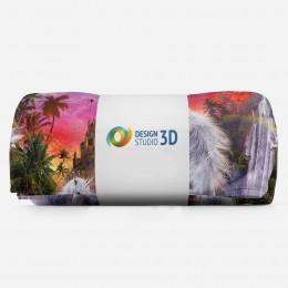 3D плед «Белые единороги на фоне замка»