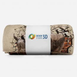 3D плед «Носорог сквозь стену»