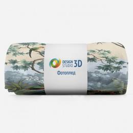 3D Плед «Пейзаж с экзотическими птицами»
