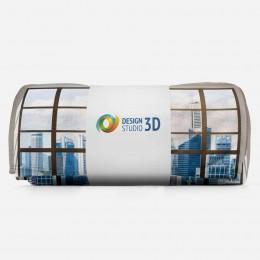 3D плед «Окна с панорамным видом на город»