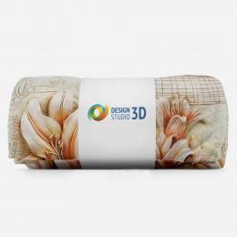 3D плед «Лилии под каменную фреску»