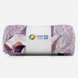 3D плед «Фиолетовые магнолии на рельефном фоне»
