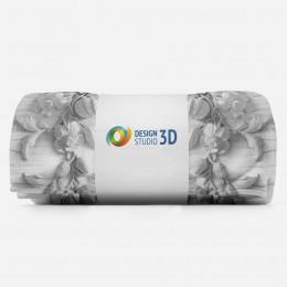 3D плед «Рельеф с ниспадающими цветами»