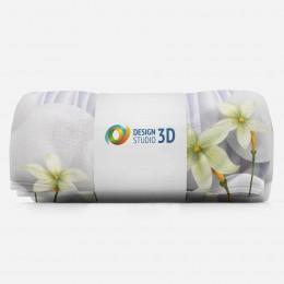 3D плед «Нежно-салатовые цветы на объемном фоне»