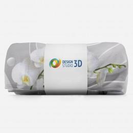 3D плед «Белая орхидея на объемном фоне»
