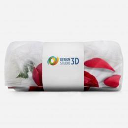 3D плед «Красные розы в перьях»