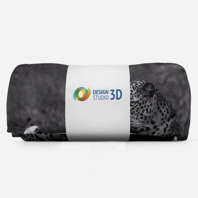 3D плед «Черно белый леопард» 3D Пледы