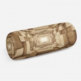 3D подушка-валик «Тоннель из древесных кубов»
