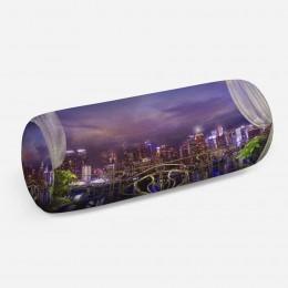3D подушка-валик «Балкон с видом на ночной город»