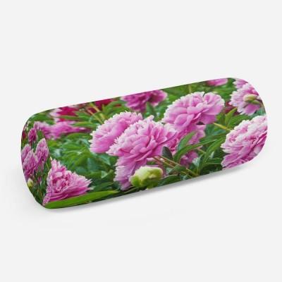 3D подушка-валик «Сиреневые пионы»