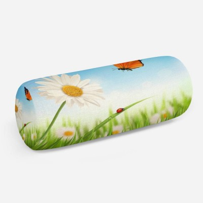3D подушка-валик «Ромашка и бабочка»