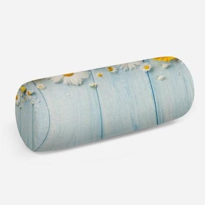 3D подушка-валик «Ромашки на голубых досках»