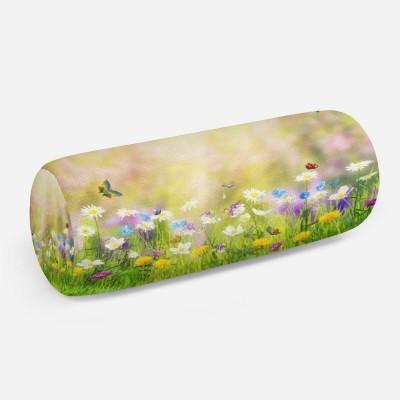 3D подушка-валик «Ромашки с бабочками»