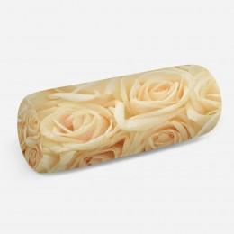 3D подушка-валик «Ковер из бежевых роз»