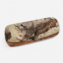3D подушка-валик «Носорог сквозь стену»