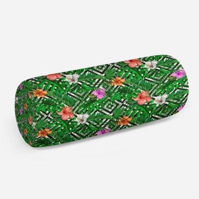 3D подушка-валик «Листья папоротника с цветами»
