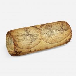 3D подушка-валик «Старинная карта мира»