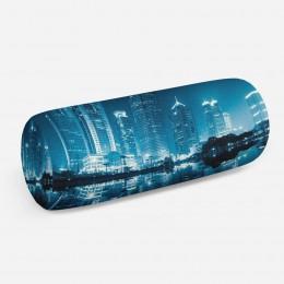3D подушка-валик «Неоновые огни ночного города»