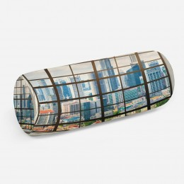 3D подушка-валик «Окна с панорамным видом на город»