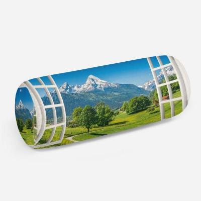 3D подушка-валик «Окно с видом на Баварские горы»