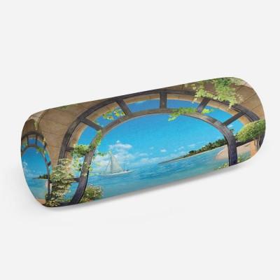 3D подушка-валик «Окно с видом на море»