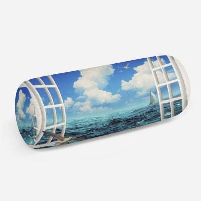 3D подушка-валик «Распахнутое в море окно»