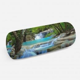3D подушка-валик «Водопад в зеленом лесу»